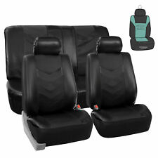Leather Solid Black Seat Covers For Auto Car Sedan SUV Van w/ Air Freshener