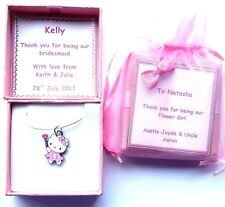 Hello Kitty encanto De Dama De Honor Collar Niña Con Caja De Regalo Personalizado Cumpleaños