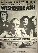 "WISHBONE ASH Welcome Back 1975   UK Poster size Press ADVERT 16x12"""