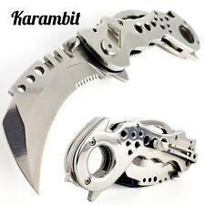 "7.5"" TACTICAL KARAMBIT FOLDING POCKET KNIFE SPRING OPEN ASSISTED BLADE CHROME"