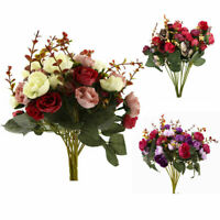 New 2 Bouquet 42 Head Artifical Rose Silk Flower Bouquet Home Wedding Decor