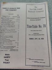 RAILWAY TIMETABLE - VINTAGE - THE NEW YORK CENTRAL RAILWAY COMPANY 1954