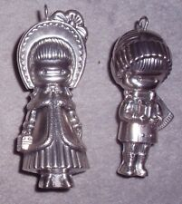 Cazenovia Anglund 1973 3D Sterling Big Sister Little Brother Christmas Ornaments