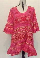 Womens Naudic Small Blouse Top Shirt Size 12 Pink Gathered Hem Sleeve ALL Cotton