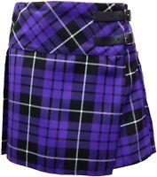 "Purple Tartan Skirt - Short (14"") Leather Strap Skirt, Size 6 - 16"