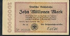 GERMANY DEUTSCHE REICHSBAHN - Berlin 10 MILLION 1923 aAU S1014 1/7 types BO29