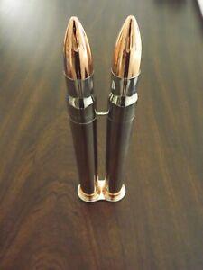 2 Tone Stainless Steel 2 Cigar Case Bullet Shape 50 Ring Gauge Cigar Tube Holder