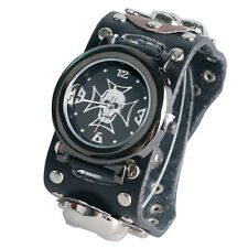 Fashion Mens Leather Band Gothic Style Skull Analog Quartz Wrist Watch Xmas Gift