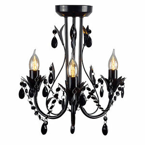 New Ivory & Deene Shabby French Provincial Black Leaf Chandelier 3 Light Ceiling