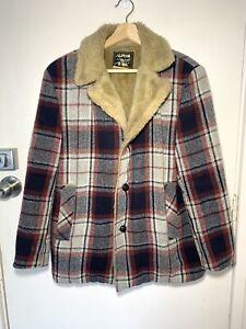 Alpine By Jedsons Vintage Lumberjack Jacket 70s Retro Wool Plaid Coat Sz 38R