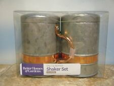BETTER HOMES & GARDENS GALVANIZED & COPPER SALT & PEPPER SHAKER SET *NEW*