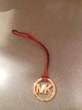 "New Michael Kors Signature Hang tag Fob Charm TANGERINE GOLD 2"" wide 7"" long"