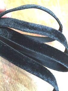 "Velvet 3/8"" Stretch Ribbon Black Single Sided 1yd Made in Switzerland"