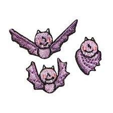 ID 0926ABC Set of 3 Cute Bat Patches Halloween Bats Embroidered Iron On Applique