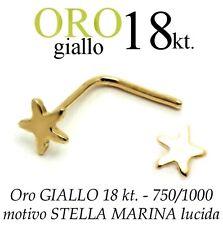 Piercing da naso nose ORO GIALLO 18kt. a STELLA MARINA starfish yellow gold 18kt