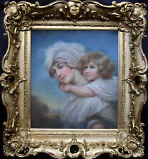 OLD MASTER BRITISH REGENCY MOTHER CHILD PASTEL OIL PORTRAIT PAINTING 1800 ART