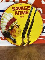 """VINTAGE STYLE 1979 """"SAVAGE ARMS"""" GAS & OIL PUMP PLATE 12 INCH PORCELAIN SIGN"""