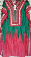 Winlar  V-Neck Long Kaftan One Size Fits Most Polyester PINK / GREEN