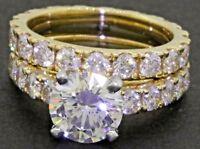 Mayors GIA cert. 18K gold 3.77CT VS diamond bridal/wedding ring set w/1.53CT ctr