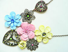 ZARA GOLD STATEMENT NECKLACE - GORGEOUS FLOWER DESIGN - LOTS OF DETAIL - NEW