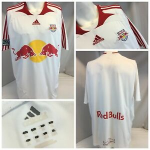 New York Red Bull's Adidas Soccer Jersey XL White Poly EUC YGI G9-595
