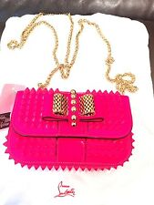 Christian Louboutin Sweet Charity Studded Shoulder Bag Pink Leather Clutch Purse