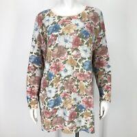 Vintage Floral Tunic Sweater Womens Large 90's Romantic Cottagecore Flowers L