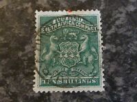 RHODESIA POSTAGE STAMP SG9 TEN SHILLINGS GREEN VERY FINE-USED