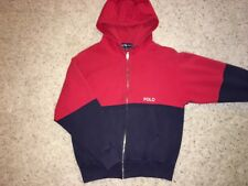 Polo Spell Out Ralph Lauren Red Blue Full Zip Hoodie Sweatshirt Mens Small