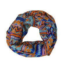 New Blue/Orange Mixed Pattern Light Weiget X-Lgrge Infinity Scarf Loop Cowl