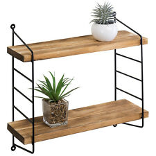 MyGift Adjustable Shelf Burnt Wood and Black Metal 2 Tier Wall Storage Shelves
