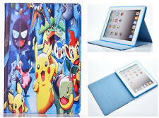 For Apple iPad 2 3 4 Happy Pokemon Pikachu Pokeball Stand Case Cover Sleep-Wake