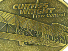 Curtiss Wright Flow Systems Bronze Airplane Belt Buckle Industrial Advertising