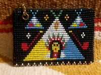 VINTAGE 40s 50s NATIVE AMERICAN INDIAN SEED BEADED LEATHER COIN PURSE CHIEF PIPE