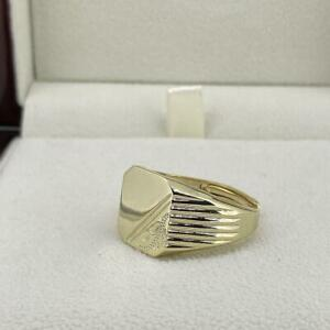 18ct Gold GF Square Signet Ring Mens Boys Half Shiny Adjustable Classic
