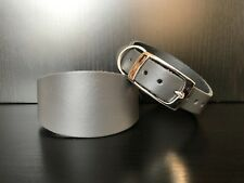 EXTRA SMALL Leather Dog Collar Italian Greyhound Lurcher Whippet Saluki GREY