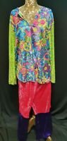 Hippie Hippy Flares + Top Costume Adult 60s 70s Fancy Dress Unisex Outfit Neon