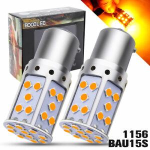 2x Amber 1156 BAU15S LED 35SMD 2800LM Turn Signal Light PY21W Car Reverse Bulb