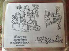 Stampin' Up GARDEN SNOWMEN Set of 4 RARE Stamp Retired 2001 Snowman Birds Spring