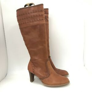 New Essence Boots Size UK 4 Brown Leather Ladies Knee High Inside Zip 461175