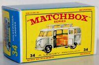 Matchbox Lesney No 34  VOLKSWAGEN CAMPER Repro empty Box style E