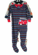 Carters Toddler Boys Fleece Firetruck Sports Balls Footed Pajamas 2 Sets Sz 12M