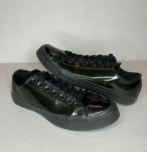 Converse All-Star Low Green Patent Leather Shoes Sneakers Men's 9 / Women's 11