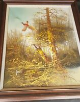 Oil paintings on canvas Woodland & Cock Pheasant With Painter's Signature