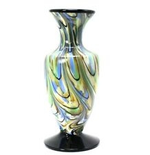 Fenton Glass Blue and Cream Amphora Vase Signed Dave Fetty