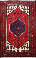 Traditional Geometric Hamedan Area Rug Wool Hand-knotted Oriental Carpet 3x5 ft