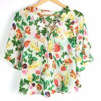 Floral Semi Sheer Floaty Boho Hippy Lace Up Neck Blogger Gypsy Folk Top 10 12