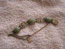 Antique Vintage Filigree Silver Bracelet China Jade