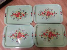 Vintage Set of 4 Serving Lap Trays Green Metal with Floral Design Shabby LL 111
