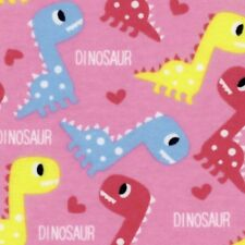 Fabric Baby Dinosaurs on Pink Flannel by the 1/4 yard BIN